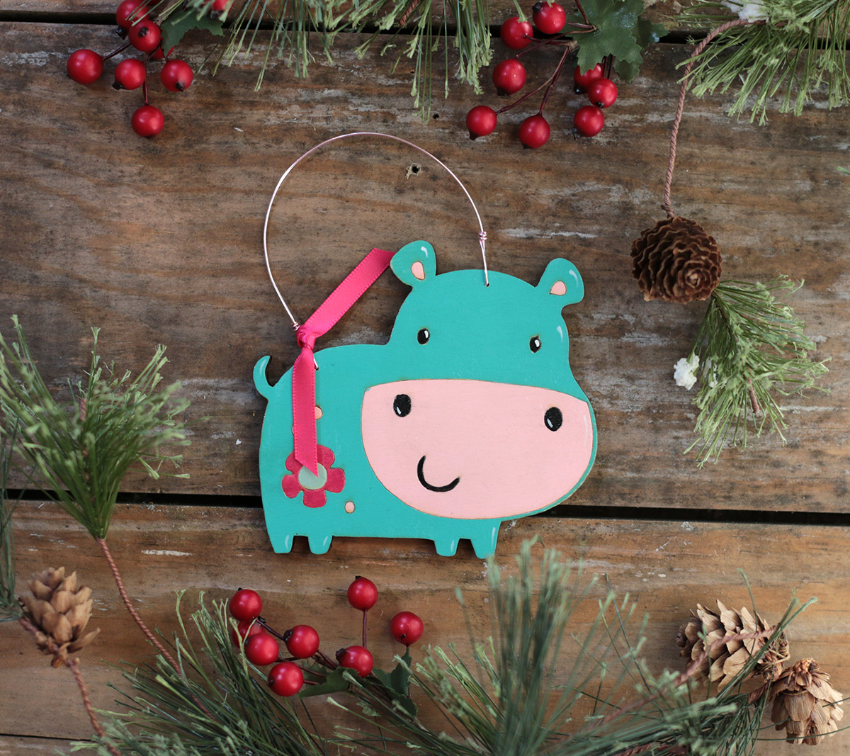 Cute hippo personalized hand painted Christmas ornament at The Weed Patch