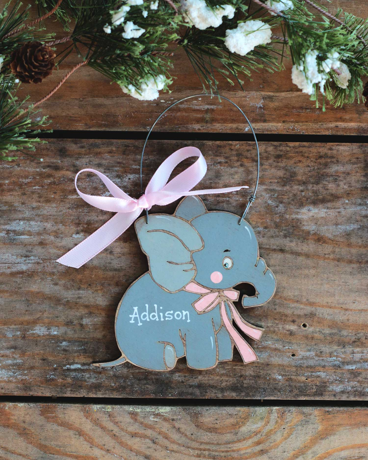 Baby Elephant Personalized Ornament at The Weed Patch