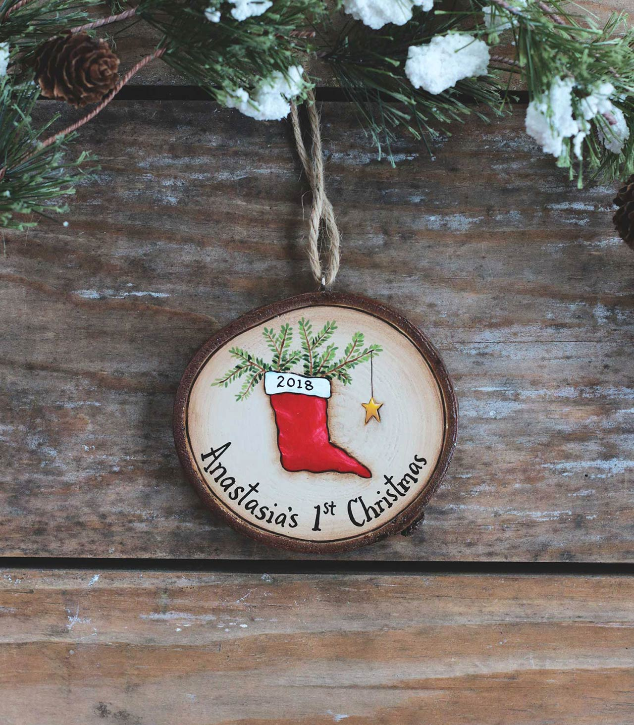 Personalized Baby's First Christmas Stocking Ornament at The Weed Patch